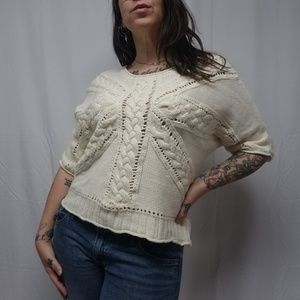anthro ROSIE NEIRA Cotton/Wool Cable Knit Sweater